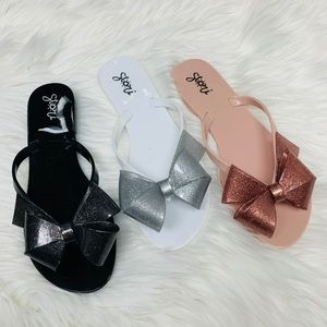 Shoes - Black jelly glitter bow sandal